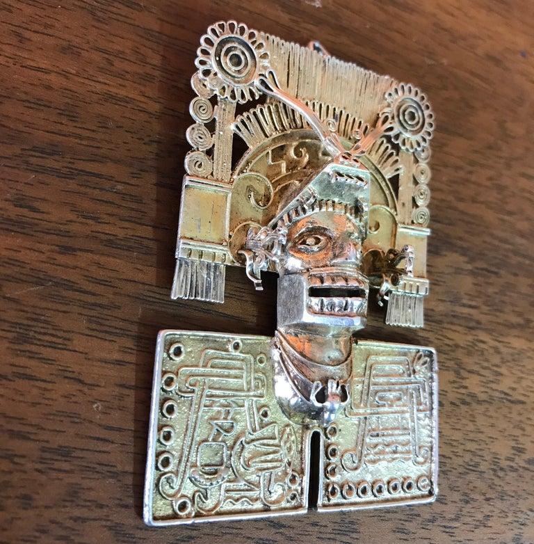 Vintage Aztec god of death Miclantecuhtli inspired pendant/brooch in sterling silver. Marked: FV México, Sterling 925.