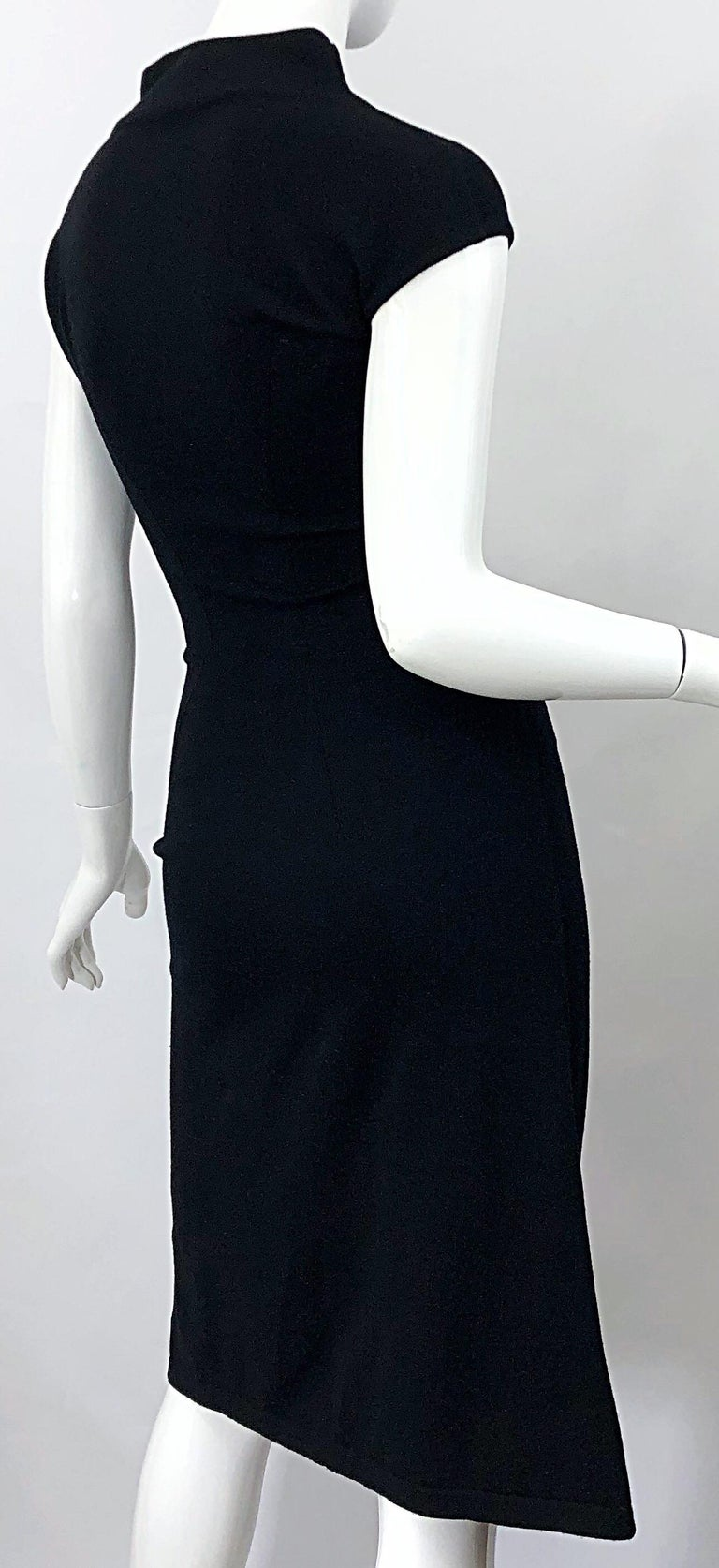 Vintage Azzedine Alaia 1980s Black Lightweight Wool Cap Sleeve Bodycon 80s Dress For Sale 6