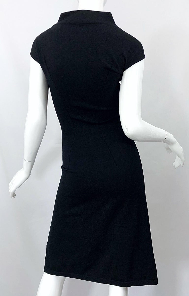 Vintage Azzedine Alaia 1980s Black Lightweight Wool Cap Sleeve Bodycon 80s Dress For Sale 8