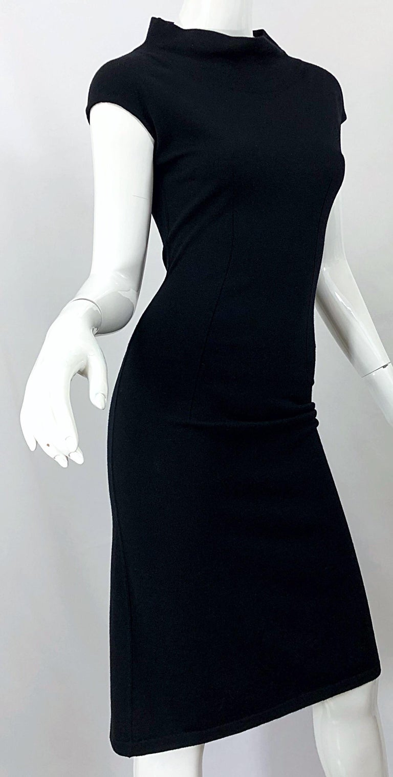 Vintage Azzedine Alaia 1980s Black Lightweight Wool Cap Sleeve Bodycon 80s Dress For Sale 10