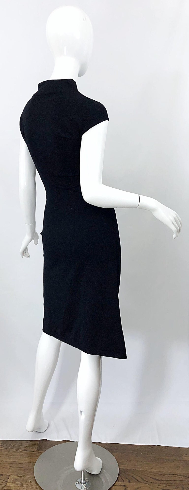 Vintage Azzedine Alaia 1980s Black Lightweight Wool Cap Sleeve Bodycon 80s Dress For Sale 11