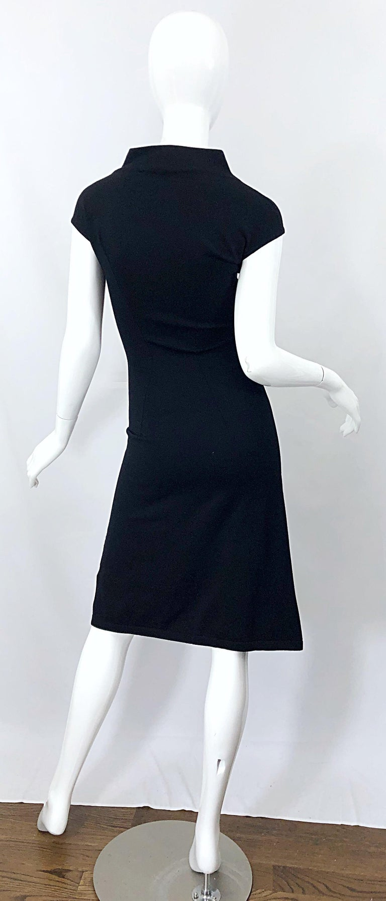 Vintage Azzedine Alaia 1980s Black Lightweight Wool Cap Sleeve Bodycon 80s Dress For Sale 1
