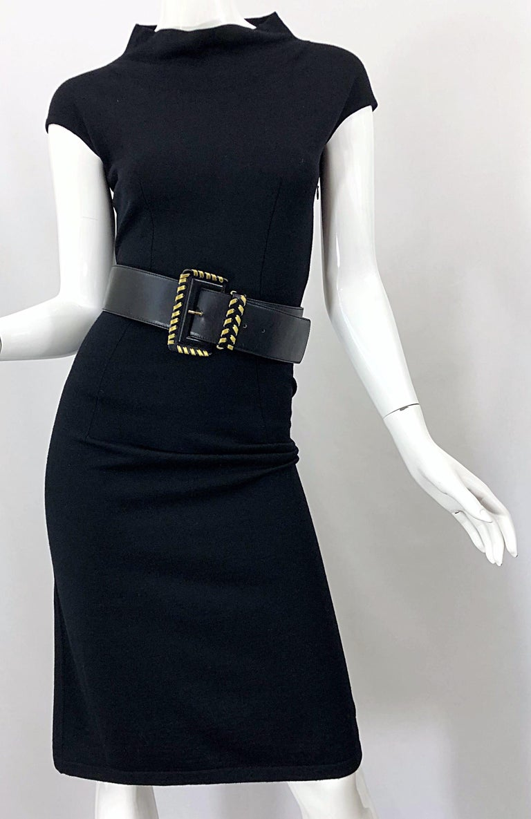 Vintage Azzedine Alaia 1980s Black Lightweight Wool Cap Sleeve Bodycon 80s Dress For Sale 2