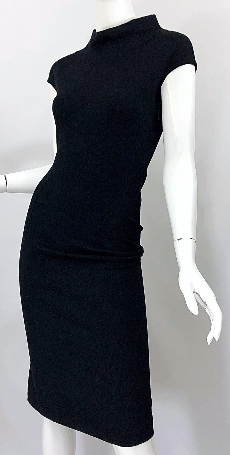 Vintage Azzedine Alaia 1980s Black Lightweight Wool Cap Sleeve Bodycon 80s Dress For Sale 4