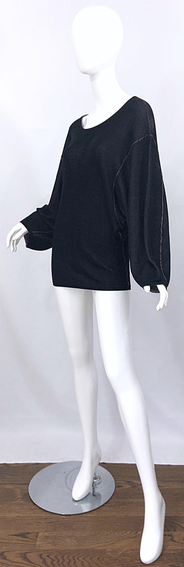 Vintage Azzedine Alaia 1980s  Black + Nude Viscose 80s Mini Sweater Dress Tunic For Sale 6