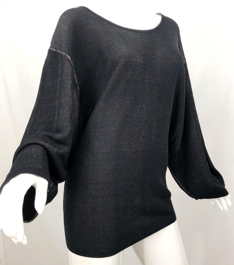Vintage Azzedine Alaia 1980s  Black + Nude Viscose 80s Mini Sweater Dress Tunic For Sale 7