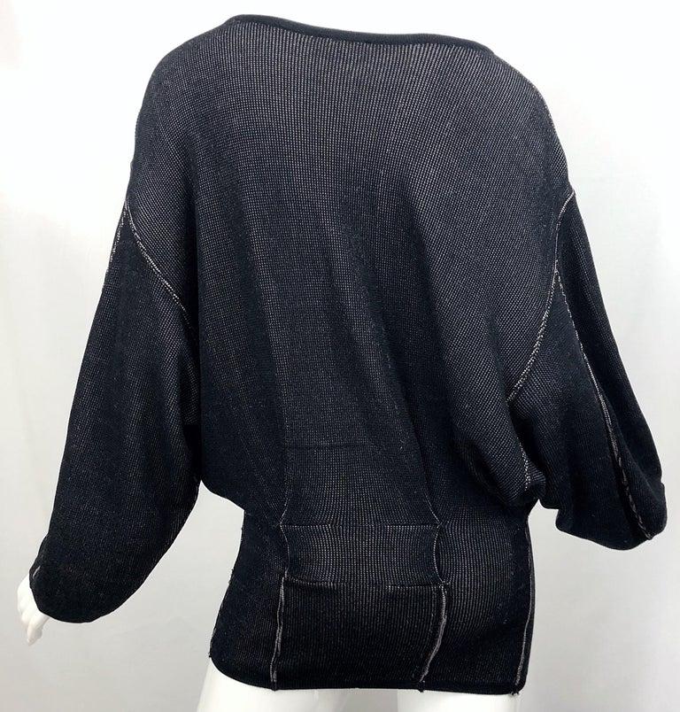 Vintage Azzedine Alaia 1980s  Black + Nude Viscose 80s Mini Sweater Dress Tunic For Sale 8