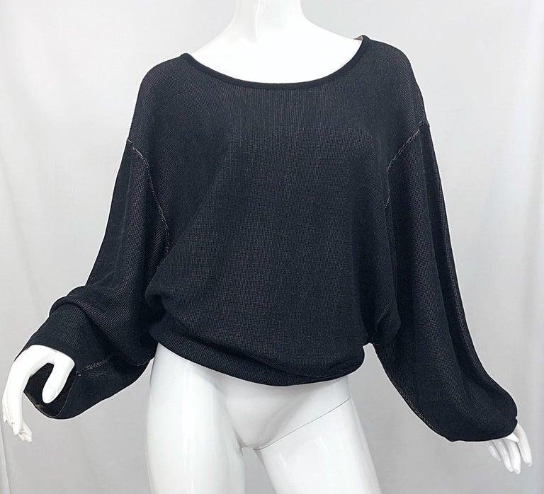 Vintage Azzedine Alaia 1980s  Black + Nude Viscose 80s Mini Sweater Dress Tunic For Sale 9
