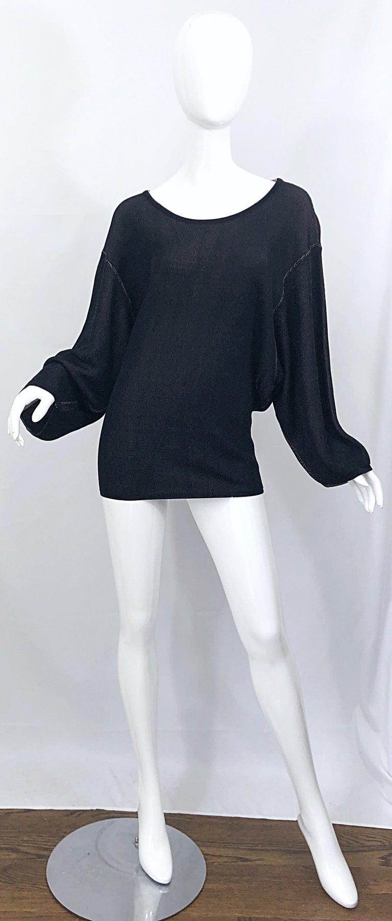 Vintage Azzedine Alaia 1980s  Black + Nude Viscose 80s Mini Sweater Dress Tunic For Sale 10