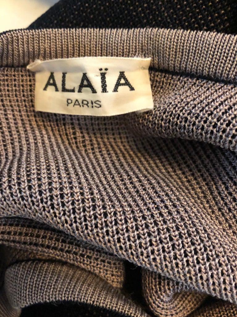 Vintage Azzedine Alaia 1980s  Black + Nude Viscose 80s Mini Sweater Dress Tunic For Sale 11