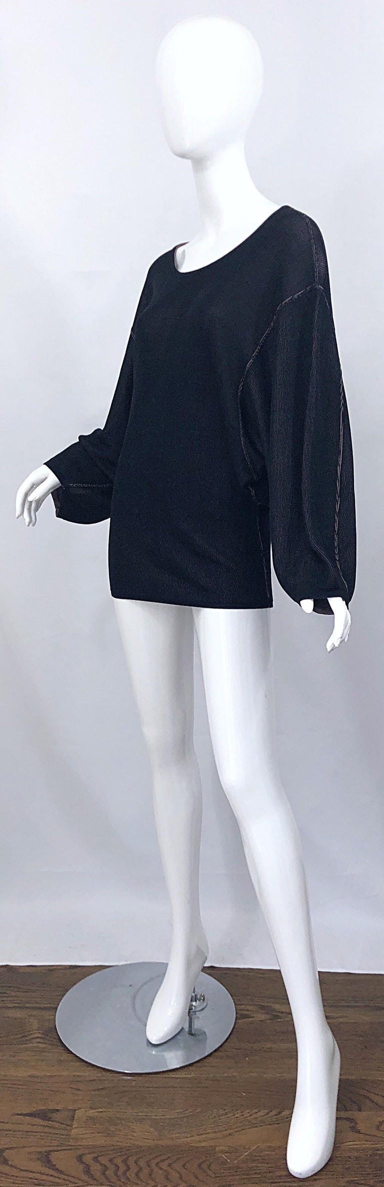 Vintage Azzedine Alaia 1980s  Black + Nude Viscose 80s Mini Sweater Dress Tunic In Excellent Condition For Sale In Chicago, IL