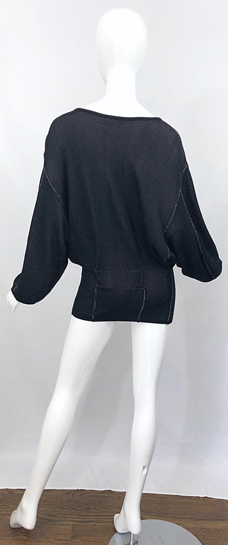 Women's Vintage Azzedine Alaia 1980s  Black + Nude Viscose 80s Mini Sweater Dress Tunic For Sale