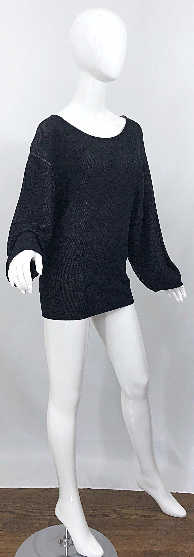 Vintage Azzedine Alaia 1980s  Black + Nude Viscose 80s Mini Sweater Dress Tunic For Sale 1