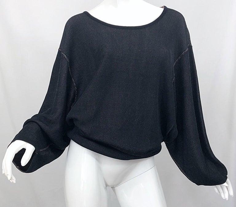 Vintage Azzedine Alaia 1980s  Black + Nude Viscose 80s Mini Sweater Dress Tunic For Sale 2