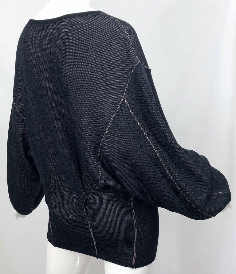 Vintage Azzedine Alaia 1980s  Black + Nude Viscose 80s Mini Sweater Dress Tunic For Sale 3