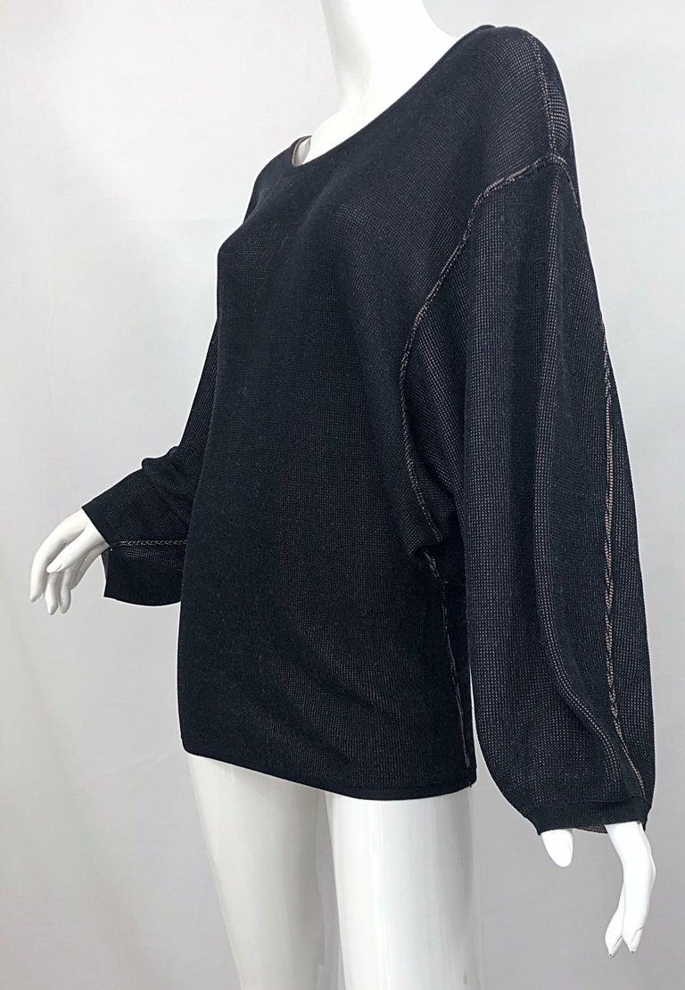 Vintage Azzedine Alaia 1980s  Black + Nude Viscose 80s Mini Sweater Dress Tunic For Sale 4