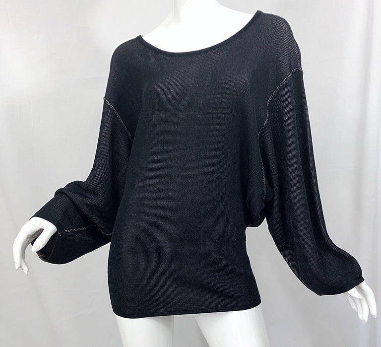 Vintage Azzedine Alaia 1980s  Black + Nude Viscose 80s Mini Sweater Dress Tunic For Sale 5