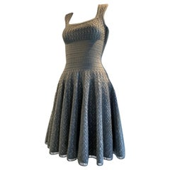 Vintage Azzedine Alaia Dove Grey Signature Elastic Open-Knit Day Dress