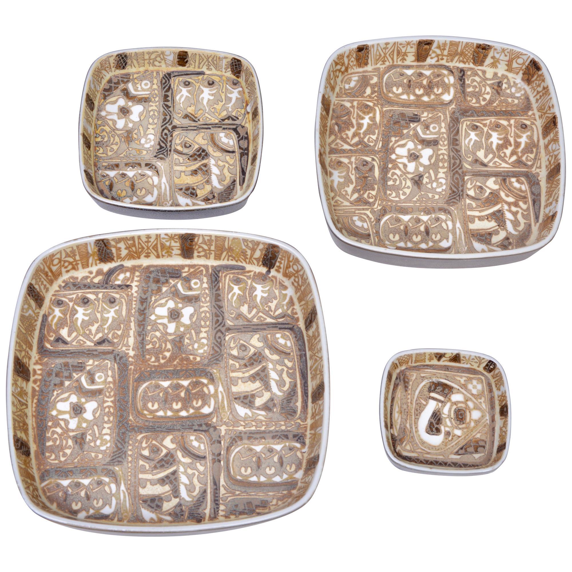 Danish Mid-Century Baca Faience plates set by Nils Thorsson for Royal Copenhagen