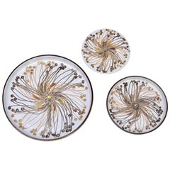 Set of 3 Mid-Century BACA Fajence plates by Ellen Malmer for Royal Copenhagen