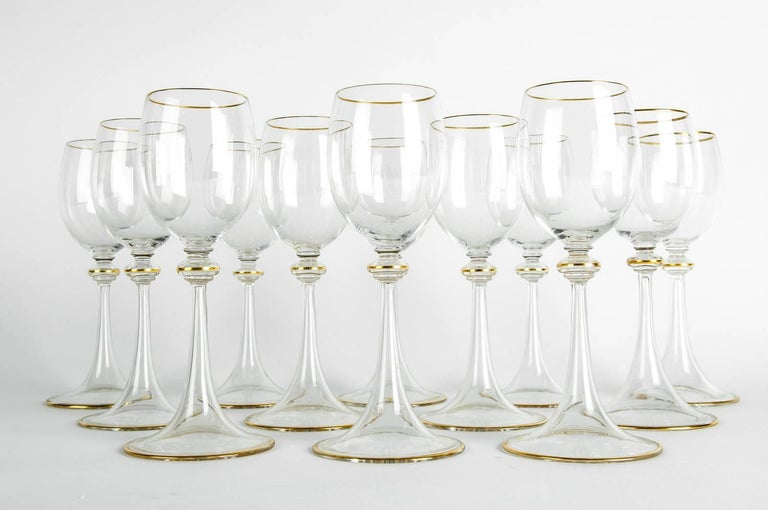 Vintage baccarat crystal wine / water glassware set of 12 pieces. Each glass is in excellent condition. Each glass measure about 7.3 inches high x 3 inches bottom diameter.