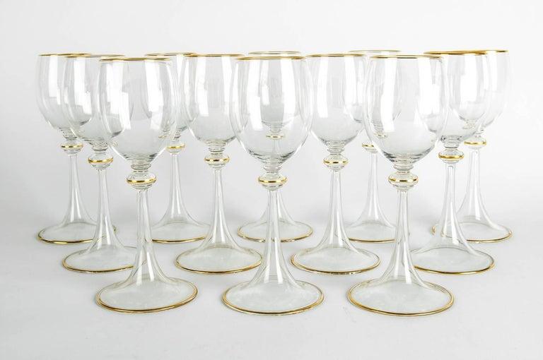 French Vintage Baccarat Crystal Glassware Set For Sale