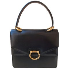 Vintage bag Celine Black Leather and gold tone Circa 1990