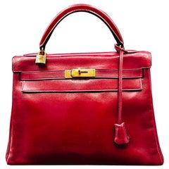 Vintage Bag Hermès Kelly 32cm Red/Burgundy