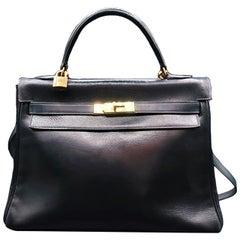 Vintage Bag Hermès  Kelly Bag 32cm Navy Blue