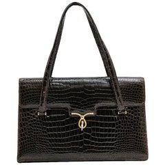 Vintage Bag in Brown Crocodile Porosus Leather