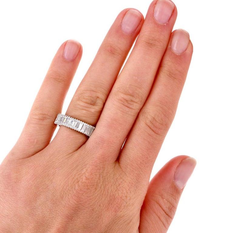 Art Deco Vintage Baguette Diamond Eternity Platinum Band Ring