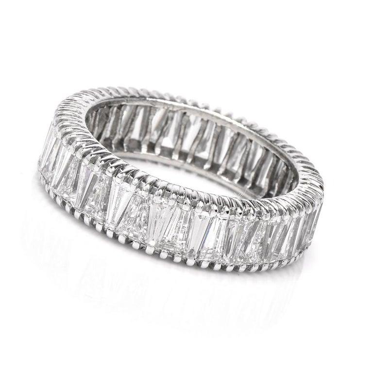 Baguette Cut Vintage Baguette Diamond Eternity Platinum Band Ring