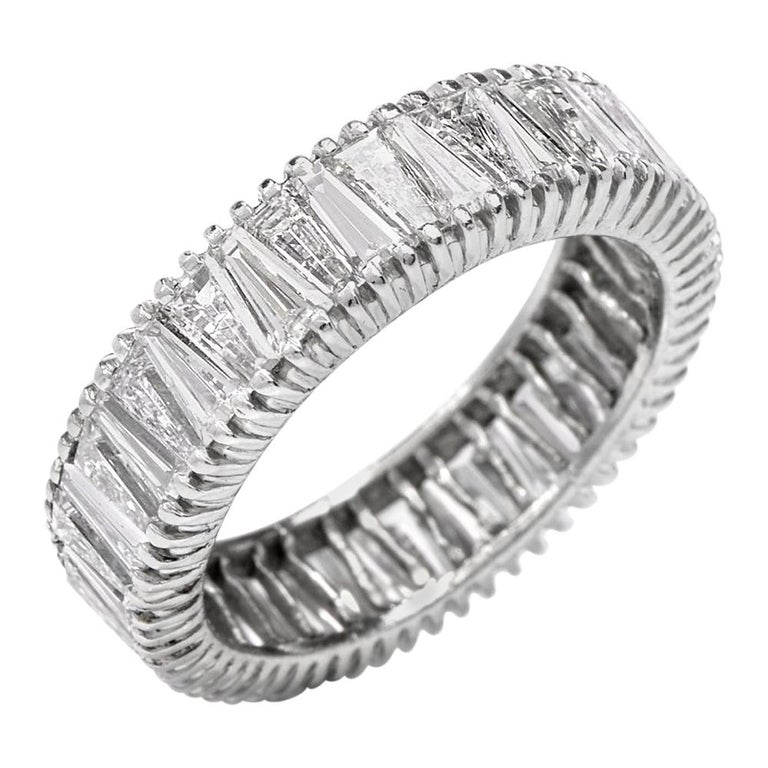 Vintage Baguette Diamond Eternity Platinum Band Ring