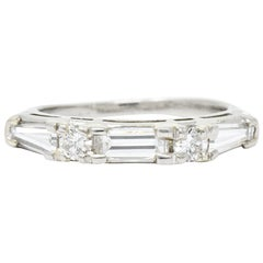 Vintage Baguette Diamond Platinum Anniversary Stacking Band Ring