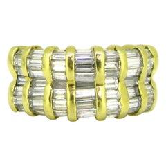 Vintage Baguette Diamonds Double Band Ring, 18 Karat Yellow Gold