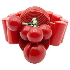 Vintage Bakelite Red Sphere Ornament Bracelet