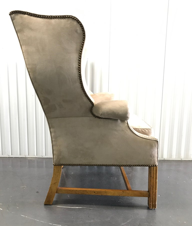 Vintage Baker Chippendale Style Wing Chair In Good Condition For Sale In West Palm Beach, FL