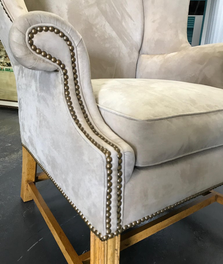 Vintage Baker Chippendale Style Wing Chair For Sale 3