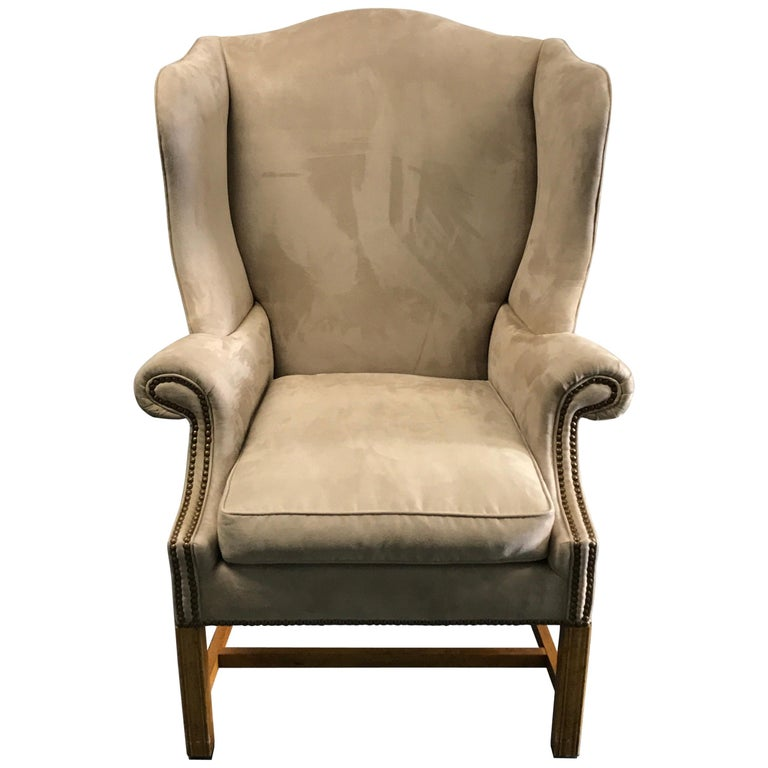 Vintage Baker Chippendale Style Wing Chair For Sale