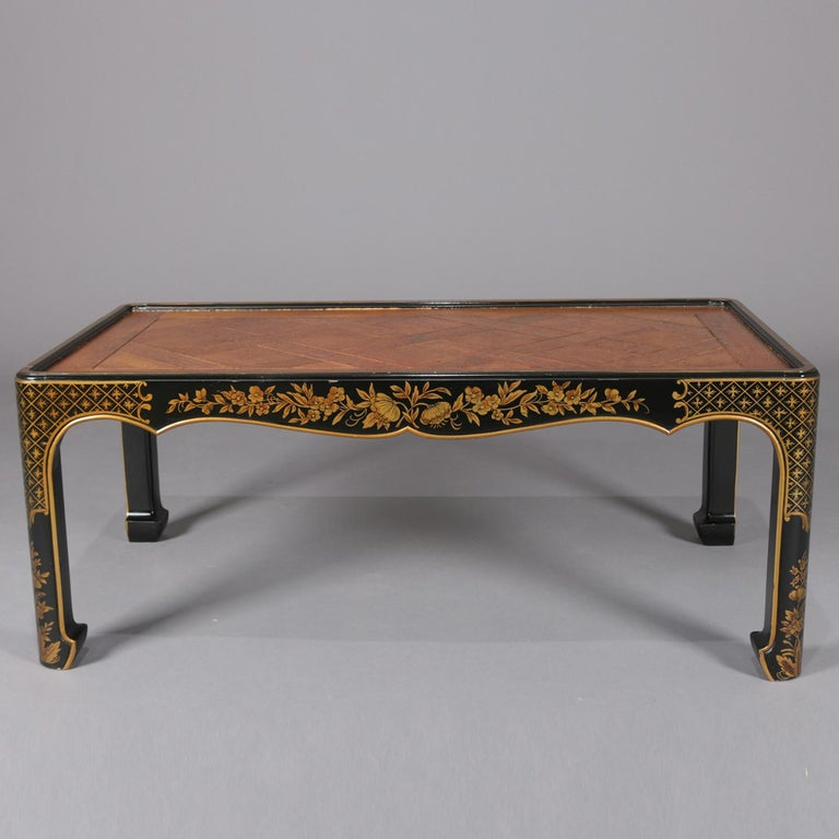 Vintage Baker Furniture Chinoiserie Black Lacquer Gilt