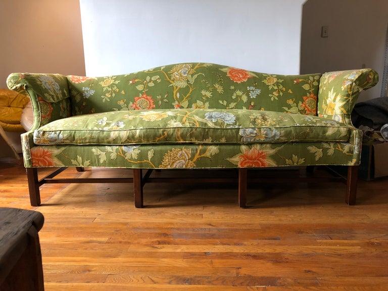 Vintage Baker Furniture Modern Green Linen Floral Camelback ...