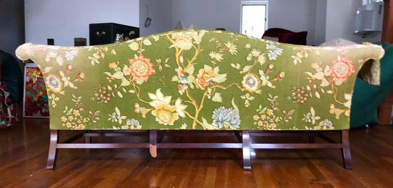 Vintage Baker Furniture Modern Green Linen Floral