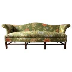 Vintage Baker Furniture Modern Green Linen Floral Camelback Sofa, Mahogany
