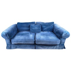 Vintage Baker Furniture Cornflower Blue Mohair Velvet Custom Skirted Sofa
