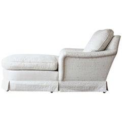 Vintage Baker Furniture Elegant Ivory Floral Upholstered Chaise Longue