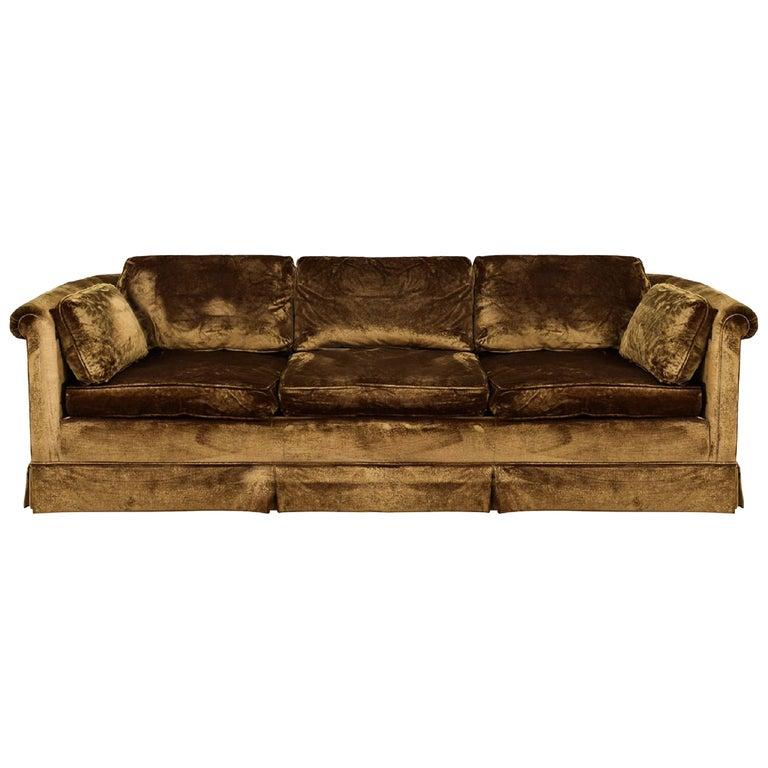Vintage Baker Furniture Golden Brown Velvet Custom George IV Skirted Sofa
