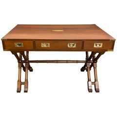 Vintage Baker Mahogany Campaign Desk with X-Base and Brass Hardware