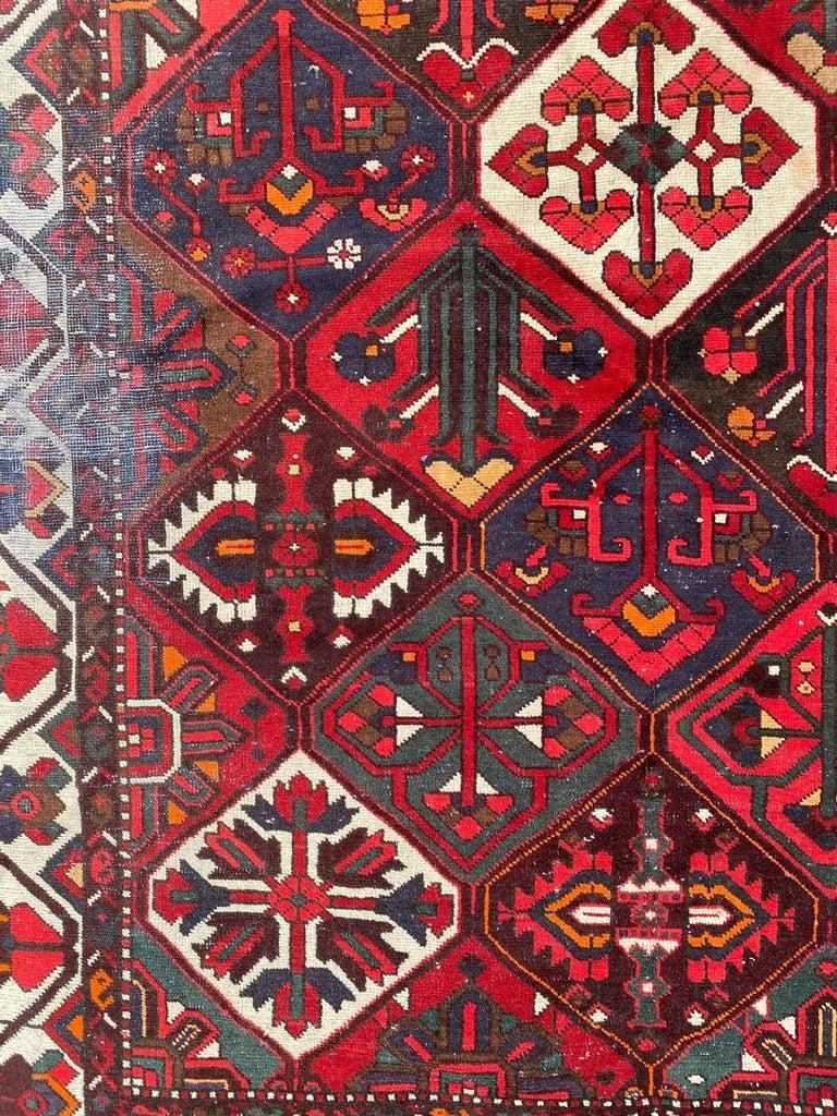 Rustic Vintage Bakhtiar Used Rug For Sale