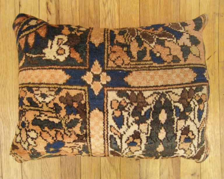 A vintage Persian Baktiari oriental carpet pillow, size 20
