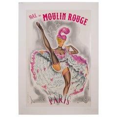 Vintage Bal Du Moulin Rouge Poster, 1950